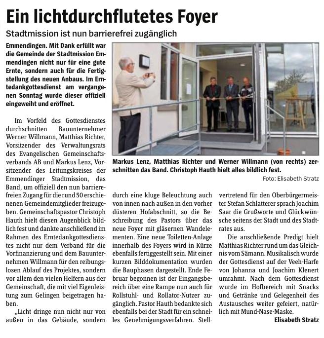 Stadtmission Emmendingen ist nun barrierefrei zugänglich